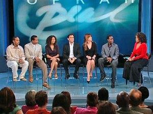 Notice the distance between Oprah and Chris Bridges.