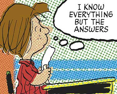 This is Peppermint Patty, and from her thought cloud, it clear she ain't on a pedestal.