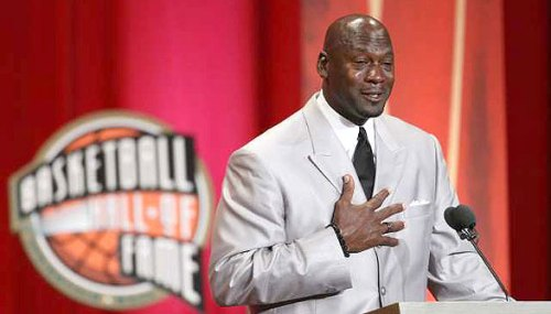 A tearful Jordan at his Hall of Fame induction on Friday night.